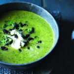 Broccoli and watercress soup with crispy chorizo crumbs