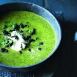 Broccoli and watercress soup with crispy chorizo crumbs