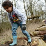 Child walking along log pile at Anglesey Abbey