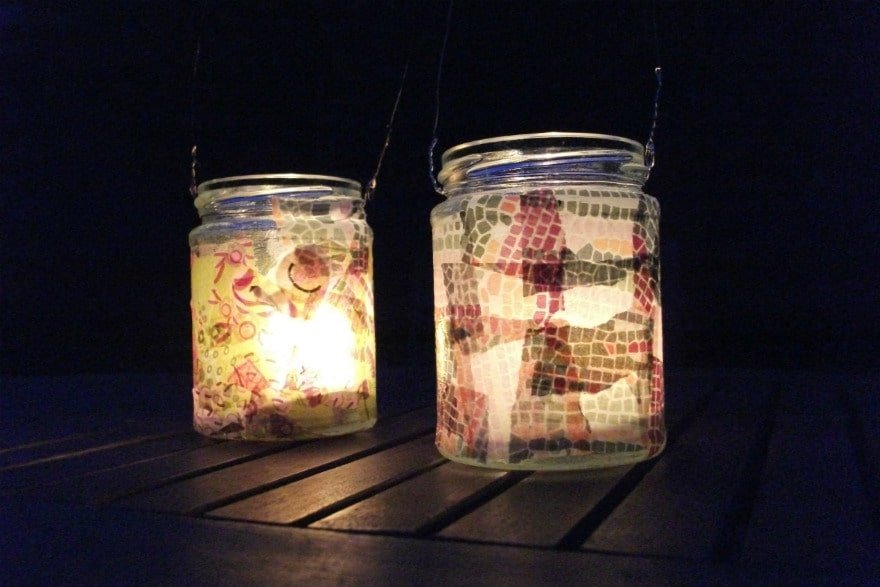 decoupage lanterns