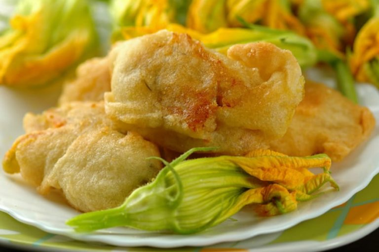 Deep fried courgette flowers