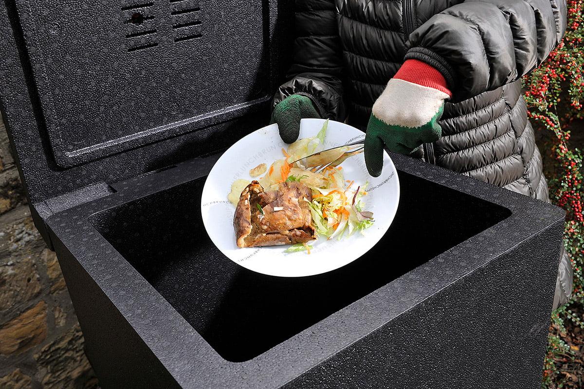 food waste in compost bin