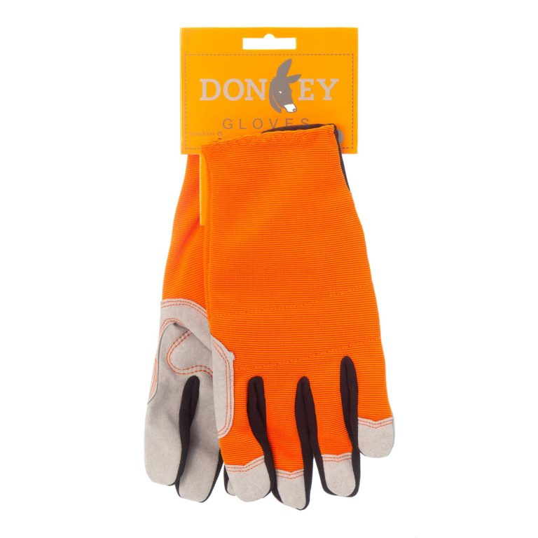 pair orange donkey gardening gloves with packaging tag