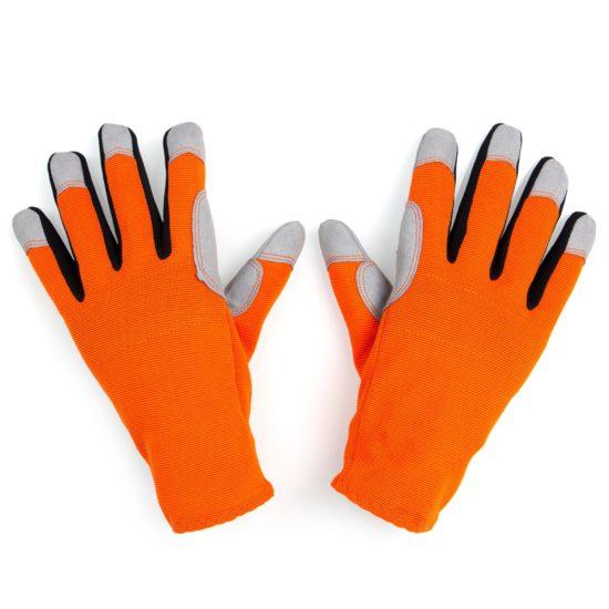 pair orange donkey gardening gloves back of hand