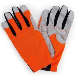 pair orange donkey gardening gloves back and palm