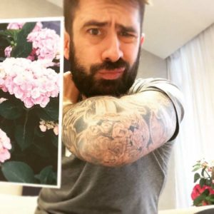 Michael Perry's Hydrangea tattoo