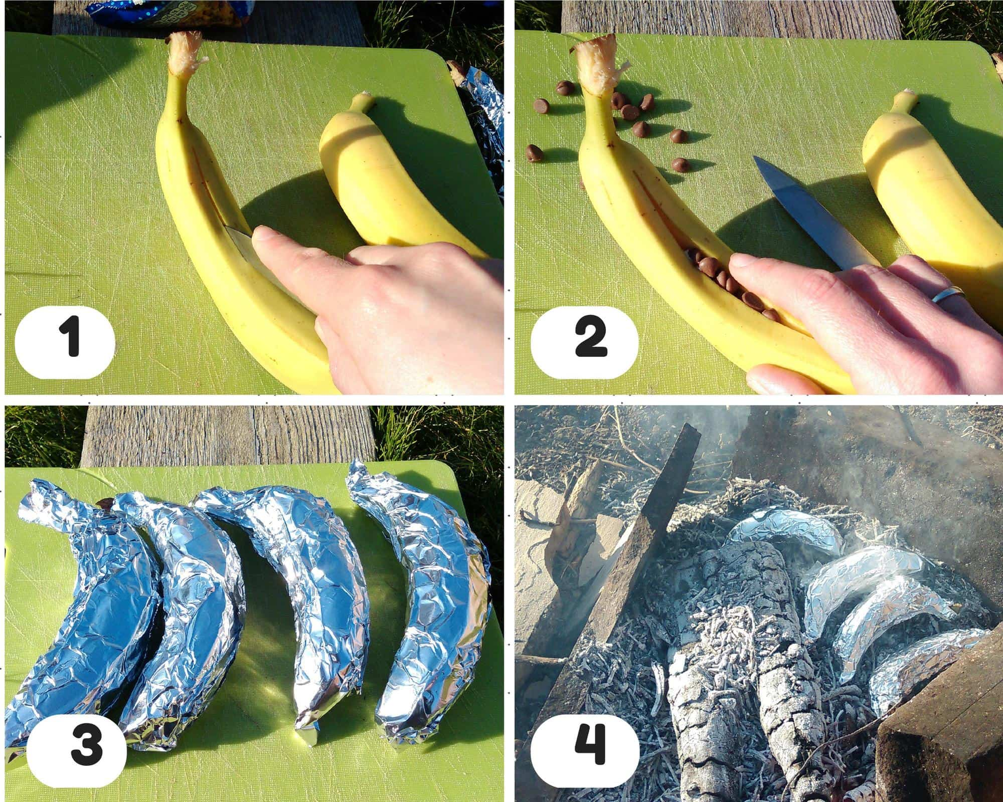 Step by step to make banana boats for a camp fire