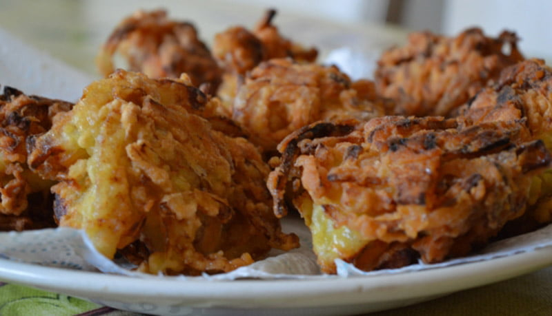 Onion bhajees ready to eat