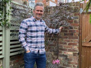 Martyn Cox with his cut leaf black elder in garden