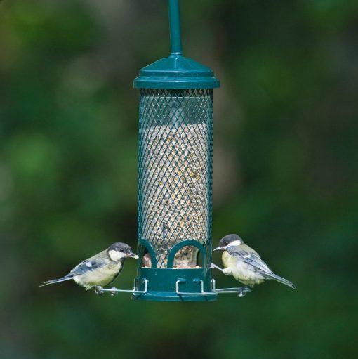 Jacobi Jayne squirrel buster mini bird feeder with 2 coal tits feeding