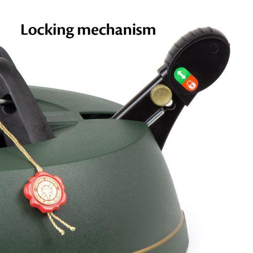 close up of krinner christmas tree stand locking mechanism