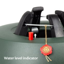 close up of krinner christmas tree stand water level indicator
