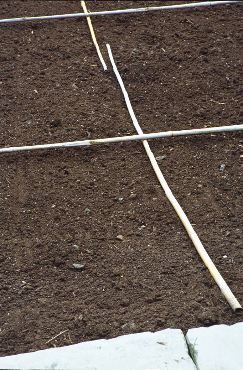 soil marked out with canes for laying turf