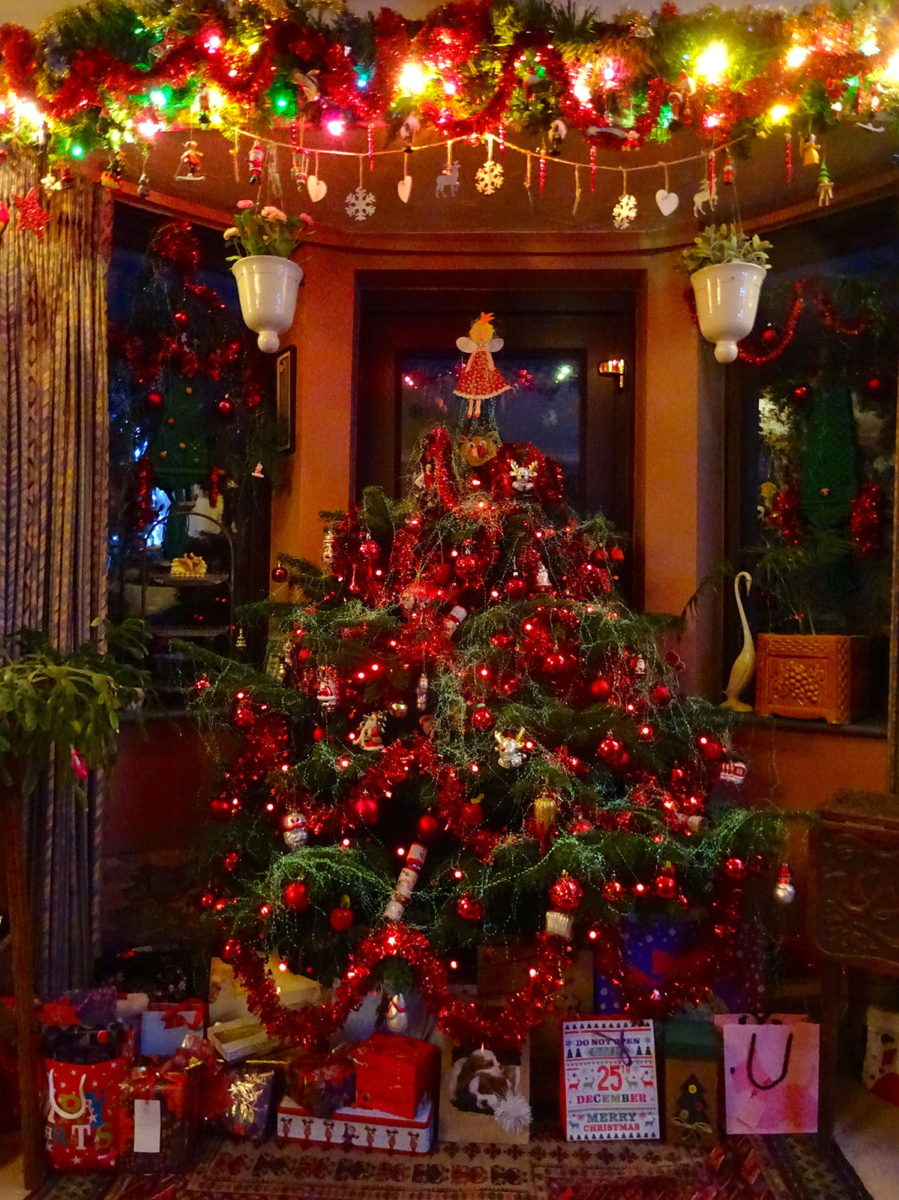 decorated tree in dining room