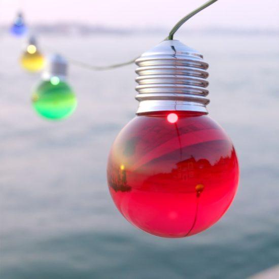 multicoloured solar festoon lights