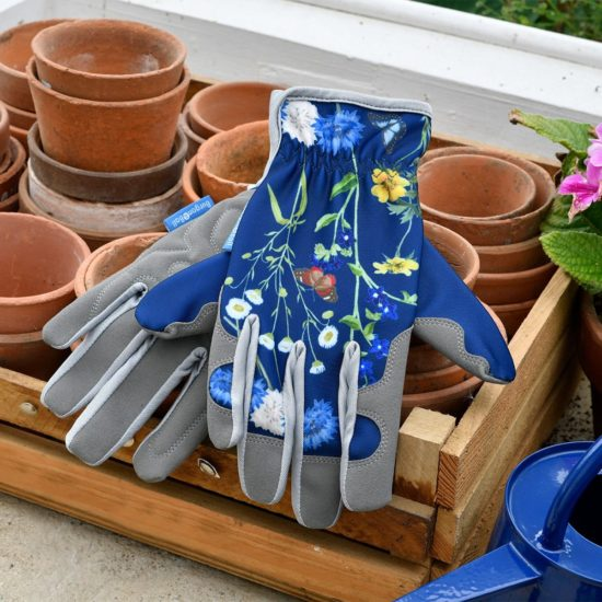 Burgon & Ball British Meadow Collection gloves with terracotta pots and wooden tray