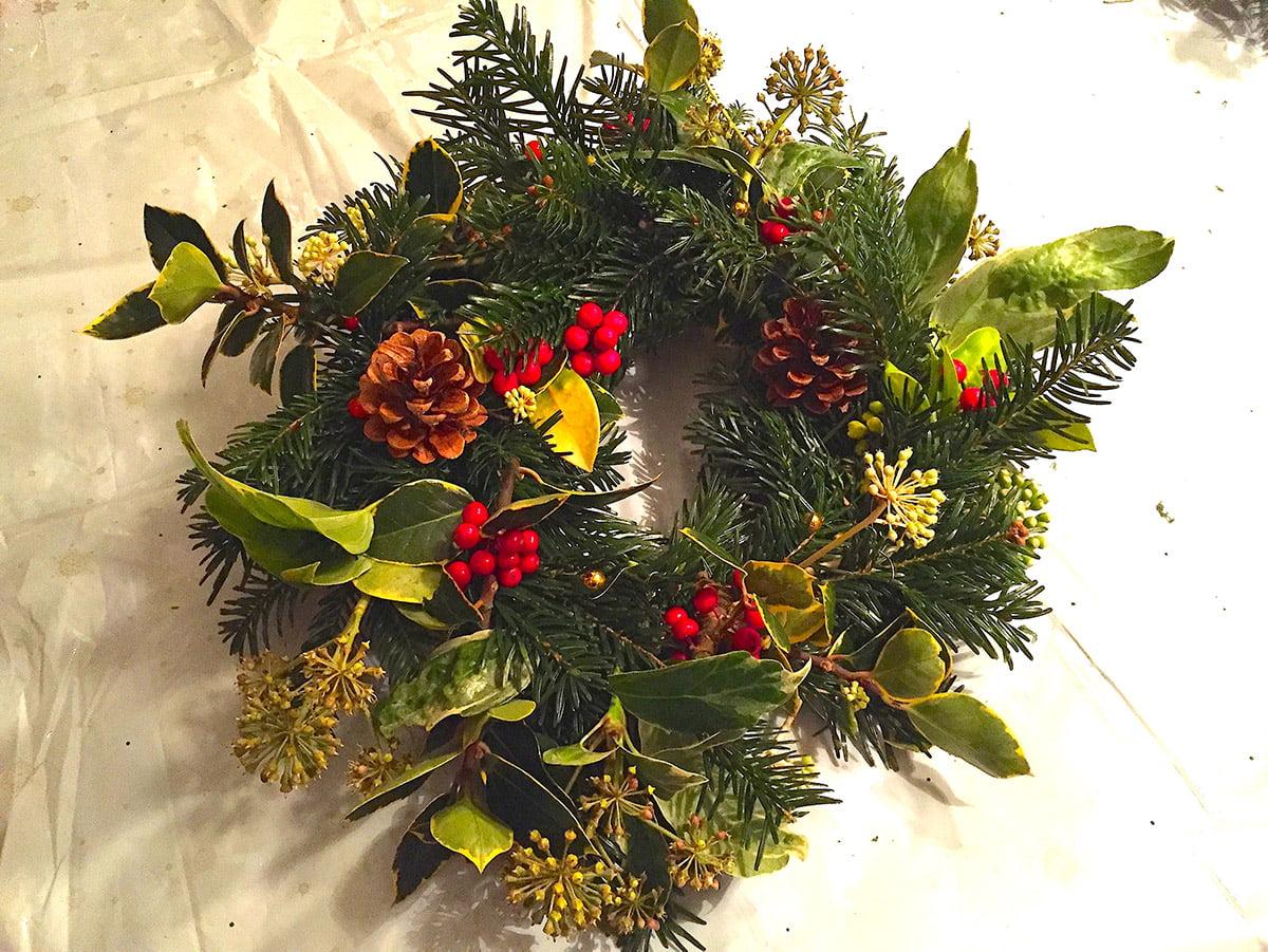 home made Christmas wreath