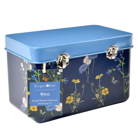 Burgon & Ball British Meadow Collection Seed Tin front & side with tag