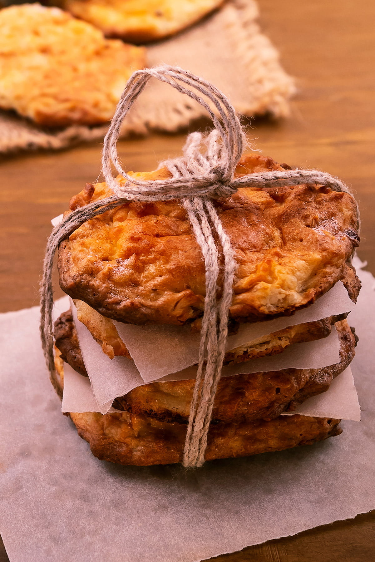 homemade biscuit stack and tied with string