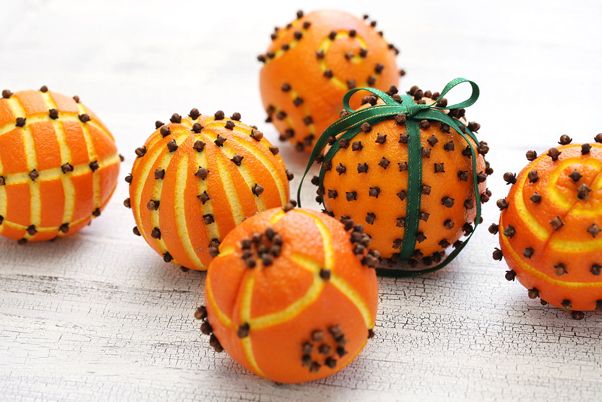 Oranges dotted with cloves