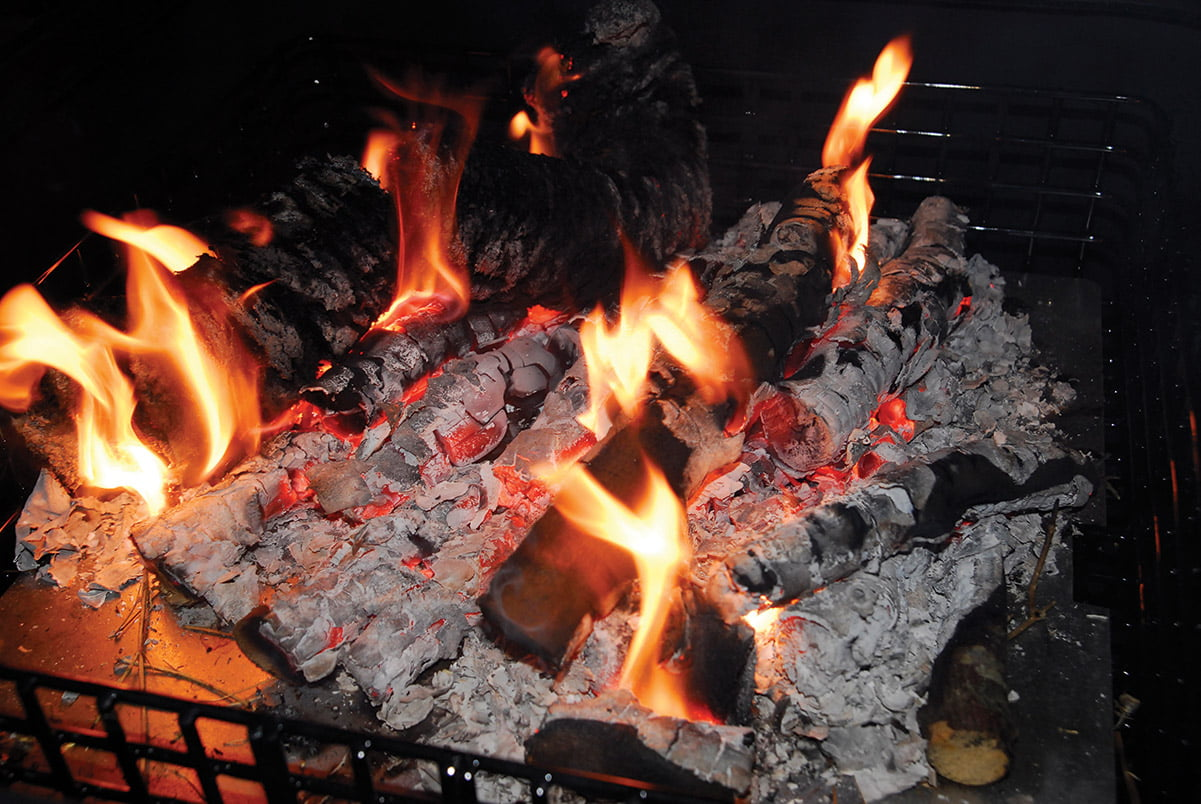 logs burning on a fire
