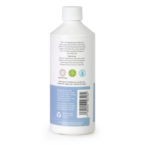 Millingtons Dog Shampoo for Itchy Skin bottle reverse