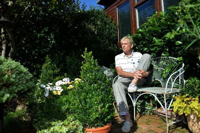 Geoff sat in the garden at Driftwood