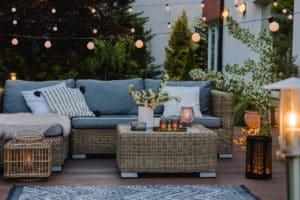 garden deck with various lighting